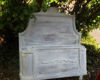 Twin Bed Headboard and Footboard WOOD Primed and Ready for Custom PAINT to ORDER Vintage Poppy Cottage Painted Furniture