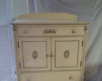 Wardrobe Chest of Drawers Vintage Primitive / Ornate French Farmhouse Wood Dresser/ Poppy Cottage Painted Furniture