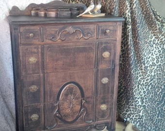 DRESSER / Tallboy Chest of Drawers with Glove Box Vintage Wood Old West Poppy Cottage Exclusive Boot Black Finish