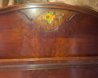 FULL SIZE Vintage Bed / Headboard and Footboard Full Bed Shabby Chic Vintage Style Wood Poppy Cottage Vintage Furniture