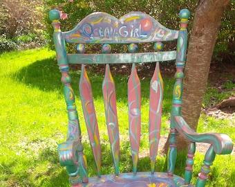 Rocking Chair  'Ocean Girl' Whimsical ART Rocker Gypsy BoHo Vintage PAINT to ORDER Poppy Cottage Hand Painted Custom Furniture