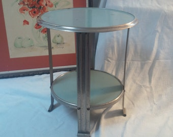 TABLE Unique Vintage Modern 2 Tier Industrial Metal Table Chrome Vintage  Retro Poppy Cottage Vintage Furniture