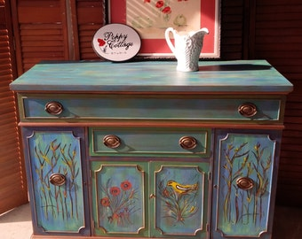 Charmant Credenza Artisan Hand Painted Finish Parade Of Color Vintage Sideboard  Poppy Cottage Custom Painted Furniture PAINT To ORDER
