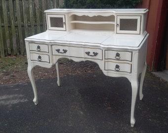 Desk /Queen Anne Ladies Writing DESK / Vanity / Vintage Make-up Vanity Custom PAINT to ORDER Poppy Cottage Painted Furniture