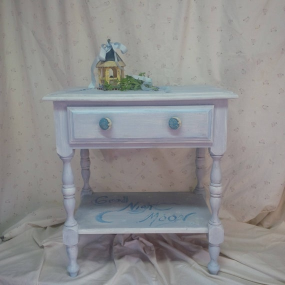 Nightstand Vintage/Solid WOOD Bedside Table Whimsical Moon Beach Cottage  Style /Pale Blue Distressed Finish/ Poppy Cottage Painted Furniture