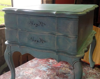 Nightstand Coastal Cottage Wood BEDSIDE Accent Table Vintage Poppy Cottage Painted Furniture