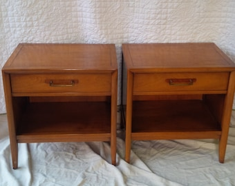 NIGHTSTANDS / Pair of Vintage Bedside Tables/Danish Modern Wood Tables/Custom Paint to Order Poppy Cottage Painted Furniture