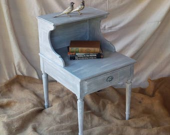 Nightstand / Accent Table in Grey Wash Distress Finish Vintage Coastal Beach Cottage Shabby Chic Poppy Cottage Painted Furniture