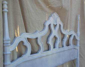 BED Queen Size Headboard Vintage French Provincial Wood WHITE Glossy Finish Poppy Cottage Painted Furniture