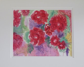 French Roses ~ a Signed Watercolor Print by the Artist ~ June Moon of Poppy Cottage Studio