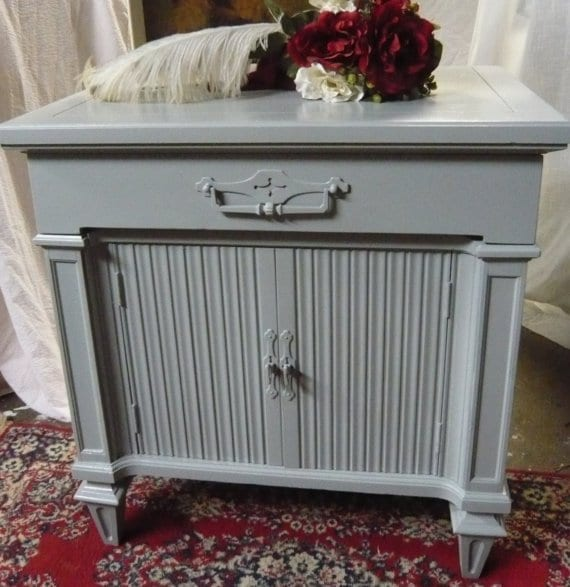 Nightstands PAIR Accent Cabinets  Vintage Wood Bedside Tables Unique Retro Style PAINT to ORDER   Poppy Cottage Painted Furniture
