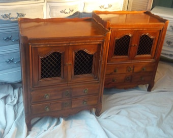 Nightstands Pair Custom PAINT to ORDER Vintage French Provincial Cherry Wood Bedside Tables Paris Apartment Poppy Cottage Painted Furniture