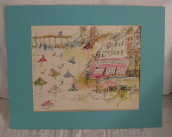 Cottage by the Sea ,Original Art / Print by Artist June Moon of Poppy Cottage , Ocean City ,NJ ,Cape May Jersey Shore Coastal