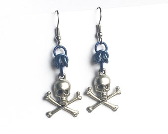 Skull and crossbones earrings, Light blue skull jewelry Aluminum chainmaille jewelry, Gothic earrings