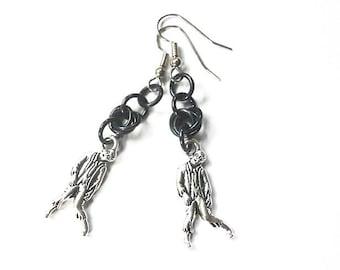 Zombie earrings, Black zombie jewelry, Horror movie earrings, Gothic jewelry, Black chainmaille earrings