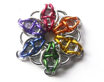 Gay Pride ornament, Rainbow Christmas ornament, Chainmaille star decoration
