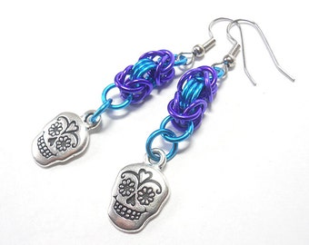 Earrings, Dia de los Muertos, Sugar skulls, Day of the Dead, Chainmaille Byzantine weave, Blue and purple