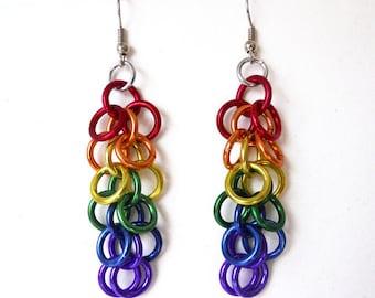 Gay Pride earrings, Rainbow earrings, Chainmaille, Shaggy loops weave
