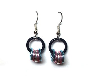 Trans Pride earrings, Small Transgender Pride earrings, Transgender jewelry, Trans Pride flag