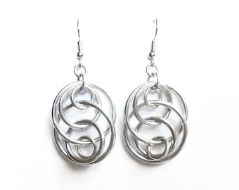 Aluminum loop earrings, Illusion loops earrings, Concentric loops, Chainmaille jewelry, Chain mail earrings
