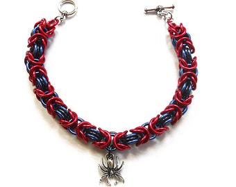 Spider bracelet, Gothic chainmaille jewelry, Red, blue, and black spider jewelry