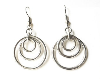 Aluminum hoop earrings, Concentric loops, Chainmaille jewelry, Chain mail earrings