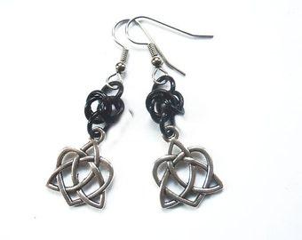 Celtic heart earrings, Celtic knotwork jewelry, Irish earrings, Black and silver Celtic knots, Heart shaped knot