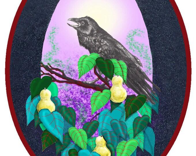 Raven in a Pear Tree w/Haiku verse .... on sale
