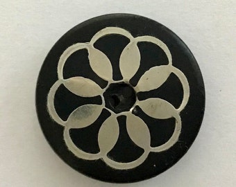 Antique Horn Whistle Button with Metal Inlay