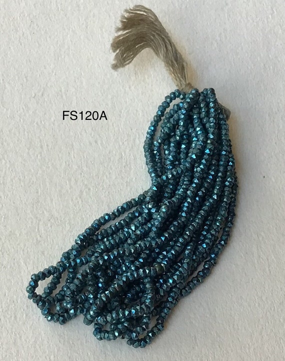 ANTIQUE FRENCH STEEL CUT BEADS TINY MICRO METAL SEED BLUE SIZE 16//0