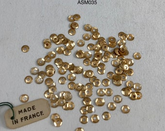 RARE Antique 19th Century Metal Sequins - Brushed Gold - 3mm