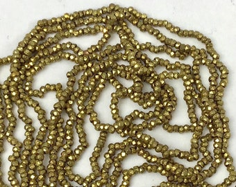 RARE - Antique Metal Cut Micro Beads - Gold - one strand 37.5 inches long
