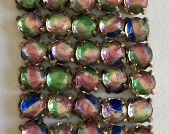 RARE Vintage Rose Montee 3.75mm Sew Ons -  Multi Color/Silver Setting