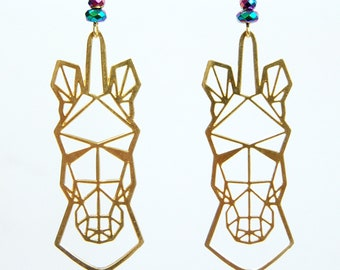 Brass Geometric Unicorn Long Dangle Earrings with Rainbow Colored Bead Accents, Lightweight Long Dangle Mythology Earrings