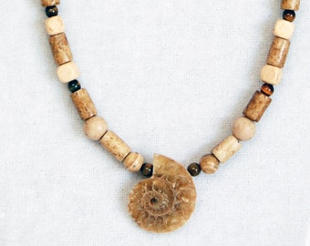 Beaded Ammonite Necklace, Fibonacci Necklace, Science or Math Geek Necklace, Geology or Paleontology or Math or Science Teacher Gift