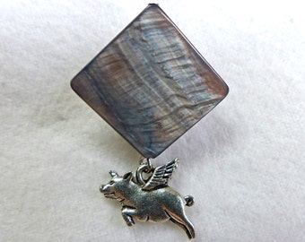 Flying Pig Lapel Pin - Silver and Gray, Pig with Wings Bar Pin, Pigasus Pin, When Pigs Fly Lapel Pin