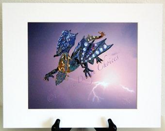 Dragon Emerging From the Storm Photographic Art Print, Whimsical Matted Dragon Art, Mythology Dragon Artwork, Purple and Black Fantasy Art