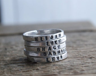 Personalized stacking rings/customized rings/kids name rings/new mom gift/mom ring/ring with names/stackable rings/gift for wife/unique gift