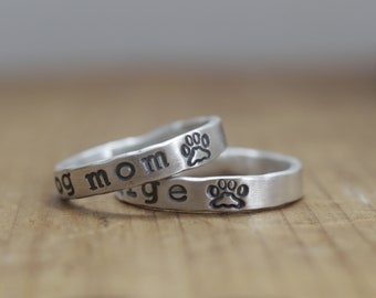 personalized pet ring, dog mom, fur baby, gift for pet lover, paw print jewelry, pet remembrance, dog lover, dog owner gifts, cat paw print