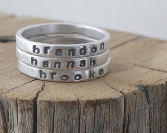 personalized stackable mothers ring, 2mm fine silver, mothers day gift, stacking rings, gift for mom, name rings, personalized ring mom gift