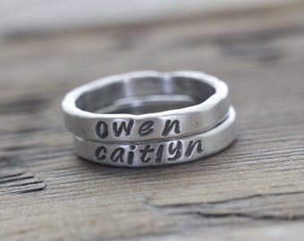 3mm fine silver stacking rings, personalized rings, personalized new mom gift, name rings, mother's ring, custom ring set, gift for wife