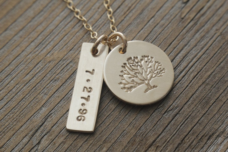 gold filled family tree date necklace personalized jewelry image 0