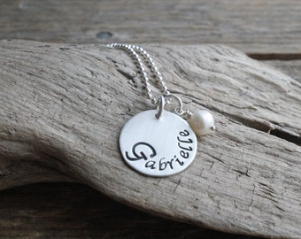 Personalized necklace, personalized jewelry for girls, sterling pendant name necklace, gift for girls, mom jewelry, teen jewelry, name disc