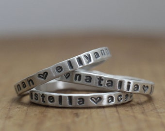 personalized stackable ring set, mom gift, kids name rings, personalized gift, customized name ring, mom ring, grandkids rings, grandma gift