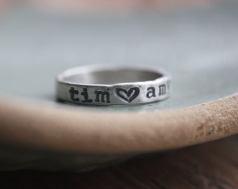 name ring, personalized fine silver ring, couples ring, gifts for couples, custom ring with heart,  promise ring, gift for bride, name ring
