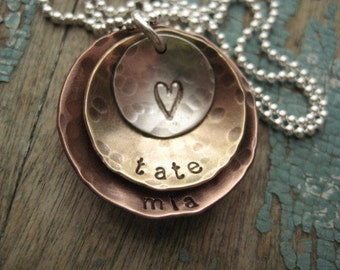 Personalized jewelry, mixed metal layered discs necklace, gift for mom, kids name necklace, personalized necklace, mothers day jewelry gift