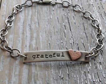 grateful heart sterling bracelet, rustic sterling bar bracelet, personalized inspirational word name plate bracelet, friend thank you gift