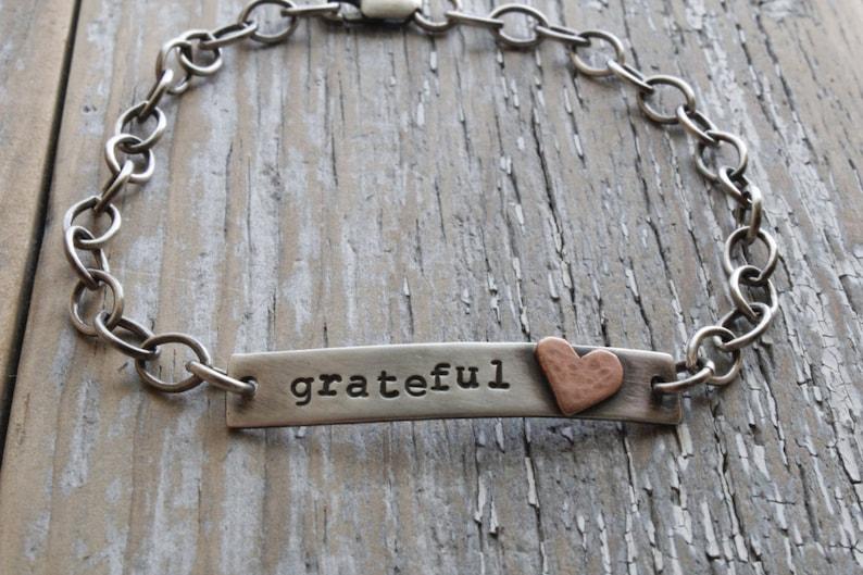 grateful heart sterling bracelet rustic sterling bar image 0