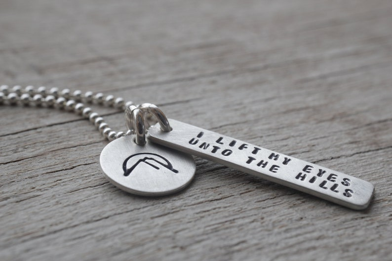 Sterling bible verse necklace / Psalm 121 / christian jewelry image 0