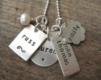 Personalized jewelry, mixed charm necklace, kids name necklace, mom jewelry, gift for mom, personalized necklace, hand stamped jewelry